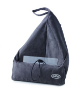 Book Seat Bookend / Tablet Pc Holder / Travel Cushion With Pouch, Charcoal Grey.