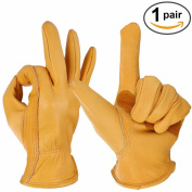 Ozero Leather Garden Gloves, Grain Cowhide Glove For Driving, Wood Cutting, - -