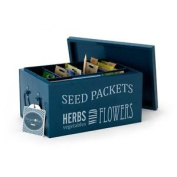 Burgon & Ball Seed Packets Metal Organiser Tin Petrol Blue Storage Container