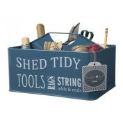Burgon & Ball Shed Tidy Caddy Petrol Blue Metal Tool Storage Container Box Tin