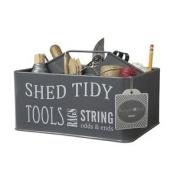 Burgon & Ball Shed Tidy Caddy Slate Grey Metal Enamel Storage Container Tool Box