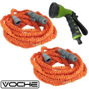 Voche 15m Orange Expanding Stretch Compact Garden Hose + Multi Jet Spray Gun
