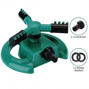 Calish Water Sprinkler 3 Arm Round Lawn Sprinkler, 360° Rotating Garden