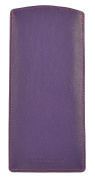 Mala Leather Slip In Glasses Sleeve Case In Soft Leather And Many Colours Purple