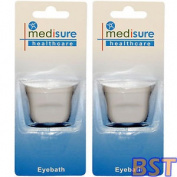 Medisure Eye Bath Twin Pack, Eye Contaminant Plastic Washing Cup, Contoured Fit