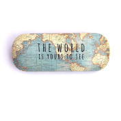 Vintage Map Hard Case Glasses Case - Plus With Love Tag