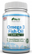 Omega 3 Fish Oil 1000mg 365 Softgels By Nu U Nutrition