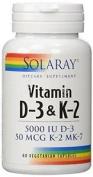 Solaray Vitamin D-3 & K-2 60 Capsules Vegetarian