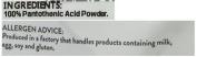 New Bulk Powders 100g Vitamin B5