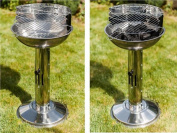 Pedestal Barbecue Bbq Charcoal Grill Stainless Steel Adjustable Cooking Stand