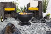 La Hacienda 58183 Globe Fire Pit With Grill Black