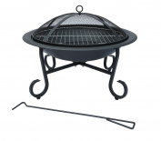 Bentley 56cm Round Outdoor Garden Patio Fire Pit Heater Open Bowl Black