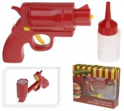 Plastic Ketchup Mustard Sauce Fun Serving Dispenser Gun With 2 Bottles