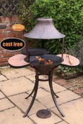 Medium Cast Iron Chimenea Fire Bowl Bbq With Stone Side Tables 113cm High
