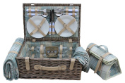 Family 4 Person Country Cream Tartan Cooler Willow Picnic Hamper