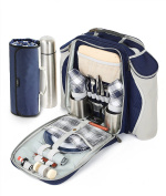 Greenfield Collection Super Deluxe Picnic Backpack Hamper for Two People in Navy Blue with Matching Picnic Blanket