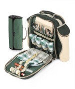 Greenfield Collection Deluxe Forest Green Picnic Backpack Hamper for Four People with Matching Picnic Blanket