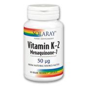 Solaray Vitamin K-2 Menaquinone-7 50 Mcg 30 Vegan Friendly Capsules