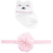 Child of Mine by Carter's Newborn Baby Girls Sock and Headwrap Set, 0-6M