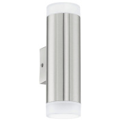 B#eglo Outdoor Led Wall Lamp Light Garden Decor Security Riga 6 W Silver 92736