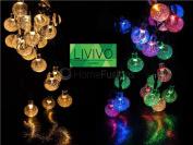 Livivo 35 Led Globe Ball Solar String Lights Crystal Indoor Outdoor Garden