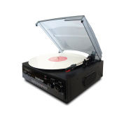 Boytone Home 3 Speed Turntable System with 3.5mm Headphone Jack, AUX and RCA Jack
