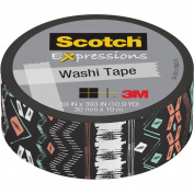 Scotch Expressions Washi Tape, .150cm x 1000cm , Black Tribal
