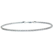 PORI Jewellers Italian Sterling Silver Popcorn Chain Anklet, 23cm with 2.5cm Extender
