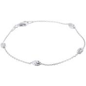 PORI Jewellers Italian Sterling Silver Anchor Moon-Cut Chain Bracelet, 19cm