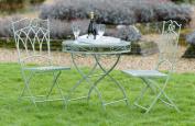 Three Piece Sage Metal Bistro Set Green Outdoor Patio Dining Garden