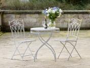 Three Piece Grey Metal Bistro Set Dining Garden Patio Outdoor