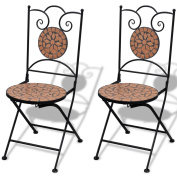 2 Terracotta Bistro Chairs Mosaic Ceramic Tile Garden Outdoor Chair Coffee Iron