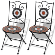 2 Bistro Chairs Mosaic Ceramic Tile Garden Outdoor Chair Coffee Iron Frame