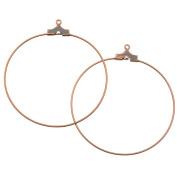 Antiqued Copper Plated Beading Hoop Earring Findings W/ Loop - 40mm Diameter /12