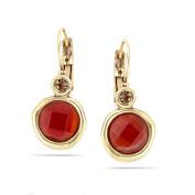 TAZZA WOMEN'S GOLD ORANGE CRYSTAL DROP EARRINGS