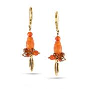 TAZZA WOMEN'S GOLD ORANGE DROP EARRINGS
