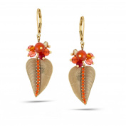 TAZZA WOMEN'S GOLD LEAVES RED CRYSTAL DROP EARRINGS