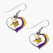 Minnesota Vikings NFL Glitter Heart Sports Team Logo Earring Swirl Charm Set