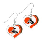 Aminco NFL Cleveland Browns Glitter Heart Earring Swirl Charm Set