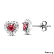 Beverly Hills Silver Sterling Silver Cubic Zirconia With Birthstone Heart Stud Earrings