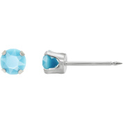 Home Ear Piercing Kit with 3mm Round Turquoise Crystal Stainless Steel Earrings