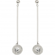Simply Silver Sterling Silver Long Bar with Ball Drop Earrings
