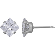 Home Ear Piercing Kit with Stainless Steel 7mm Square Clear CZ Single Earring, Exclusive