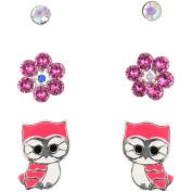 Hot Silver Pink Owl, White, Aurora Stud Trio