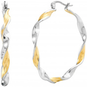 Angelique Silver Two-Tone Stainless Steel 35mm Twisted Hoop Earrings