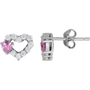 Simply Silver Kids' Sterling Silver White CZ with Pink Accent Heart Stud Earrings