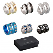 BMC 6pc Mens Stainless Steel Fashionable Multicolor Crystal Studded 4mm Luxury Hinge Snap Hoop Earrings Lot