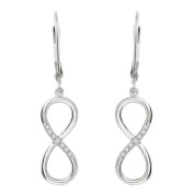 World Trade Jewellers Sterling Silver Diamond Accent Infinity Dangle Earrings
