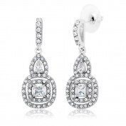 Beverly Hills Silver White Rhodium-plated Brass Cubic Zirconia Chandelier Dangling Earrings