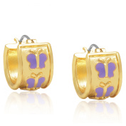 Molly and Emma 14k Gold Overlay Purple Butterfly Hoop Earrings